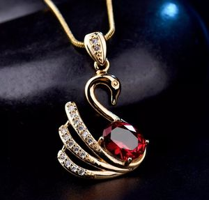 18kt Yellow Gold Filled Red Garnet Swan Pendant Necklace for Sale in Aspen Hill, MD