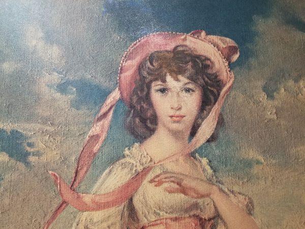 Large vintage print of oil painting girl in bonnet