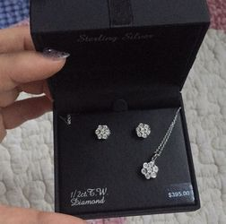 New) 1/2 ct T.W diamond+sterling silver set for Sale in McLean,  VA