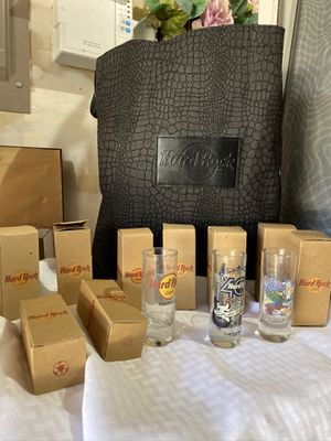 Hard Rock Cafe shot glasses and tote for Sale in Sherwood, OR