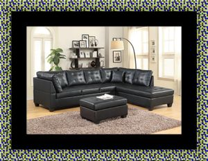 Black sectional with ottoman for Sale in Gambrills, MD