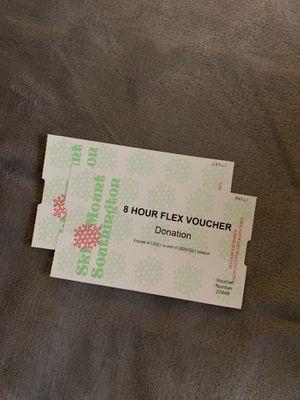 (2) Ski Mount Southington 8 Hour Flex Voucher for Sale in Wolcott, CT