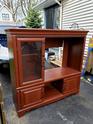 Beautiful large entertainment center very good condition doors with glass in shelves Lakewood Ohio for Sale in Cleveland, OH