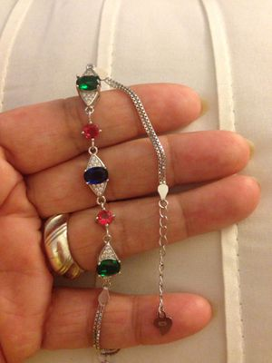 Real 925 Sterling Silver Natural Gemstone bracelet for Sale in Nuevo, CA