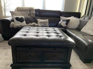 Very Special Espresso Leather and Wood Ottoman for Sale in Redmond, WA