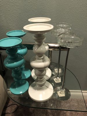8 piece set Z GALLERY CANDLE STICKS AND HUGE MATCHING TABLETOP DECOR for Sale in Midway City, CA