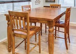 Solid Wood Counter Height Dining Room Table With Extension Leaf and Four Chairs for Sale in Phoenix, AZ