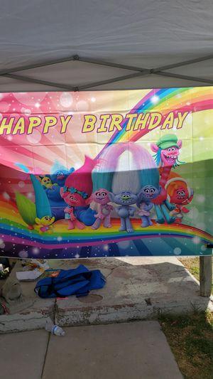 Trolls birthday banner for Sale in Riverside, CA