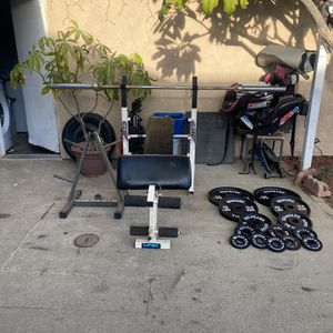 237 Pounds With 45 Ft Bar And Bench Press And Weight Tree (Read Description ) for Sale in Corona, CA
