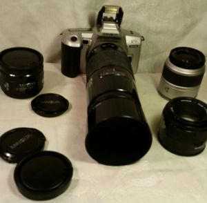 Minolta film camera with macro 70-200mm - 28mm- 50mm for Sale in Aurora, CO