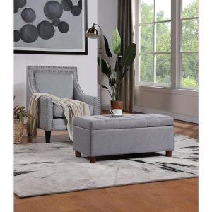 Gray Modern Tufted Linen Fabric Ottoman Storage Bench for Sale in La Puente, CA