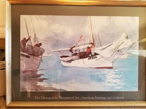 Mother's Day gift, mom seascape Large Art Poster, Fishing Boats, Key West, Winslow Homer, Framed, under glass, lithograph, sailing, Florida for Sale in Neavitt, MD
