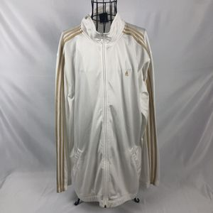 Adidas White Track Jacket Gold Stripes Full Zip Mens 2XL for Sale in FL, US