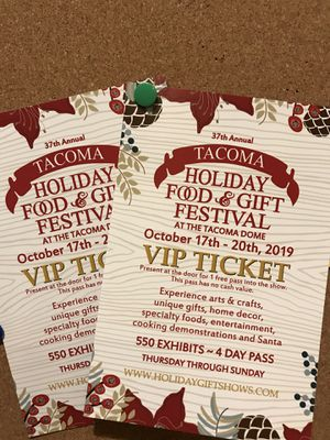 2 VIP tickets Holiday Food & Gift Festival at Tacoma Dome for Sale in Mill Creek, WA