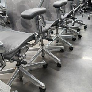 SUPER RARE! BRAND NEW! HERMAN MILLER REMASTERED AERON SIZE B POSTURE-FIT SL POLISHED ALUMINUM ADJUSTABLE ARMS SEAT ANGLE REAR TILT LOCK ADJUSTMENTS for Sale in Monterey Park, CA