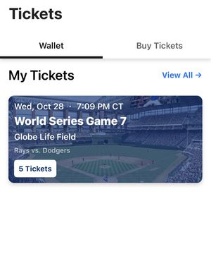 World Series Game 7 (4 tickets & Parking) for Sale in Arlington, TX