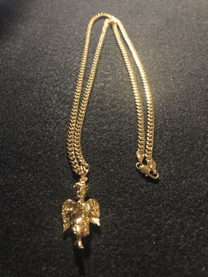 "18kmgl (gold-filled not plated or stainless ) Cherub Angel wings pendant with 5mm 28"" cuban link chain , includes warranty for Sale in Tampa, FL"