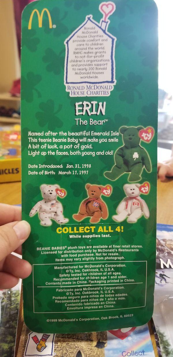 rare retired ty beanie baby Glory, Erin, Maple & Britannia the Bear