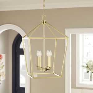 "Israel 4 - Light Lantern Square / Rectangle Chandelier in warm brass. Adjustable height and Dimmable. Chain length 120"". 26"" H x 17"" x 17"". MSRP $312. for Sale in Woodstock, GA"