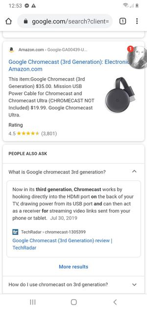 Google chromecast third generation for Sale in Zephyrhills, FL