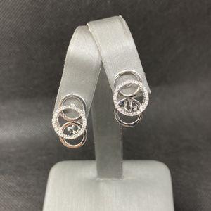 14k White Gold Diamond Circle Earrings for Sale in Boynton Beach, FL