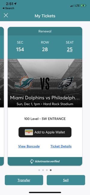 Eagles vs Dolphins 2 tix lower bowl for Sale in Fort Lauderdale, FL