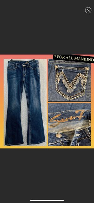 Seven for all mankind blue flare bling fring jeans for Sale in Aurora, IL
