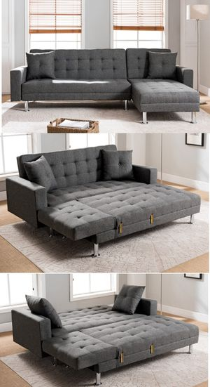 Grey fabric sectional sofa couch sleeper for Sale in Norwalk, CA