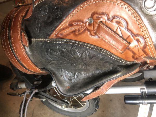Sun mountain speed cart with custom leather golf bag