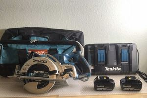 Today only...... Makita 18volt-36 volt 7-1/4 circular saw 2-5.0 batteries duo charger and bag......$260..... pickup only...... brand new. for Sale in Bloomington, CA