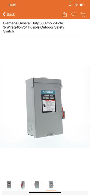 Siemens General Duty 30 Amp 2-Pole 3-Wire 240-Volt Fusible Outdoor Safety Switch for Sale in Houston, TX
