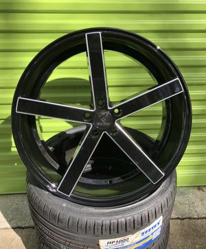 """20"""" Ravetti M1 black & milled wheels (rims) with new tires installed! for Sale in Orlando, FL"""