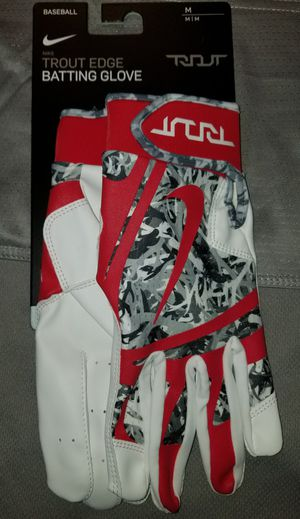 Brand New Nike Mike Trout Edge Baseball Batting gloves Red Camo Adult Medium, Only for Sale in West Covina, CA