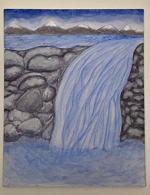 Waterfall over Stone Painting - Original Artwork for Sale in Ithaca, NY