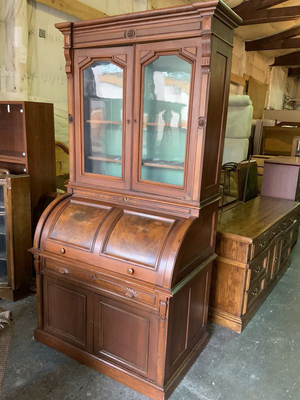 Antique Roll Top Secretary Desk with Upper Cabinet - Delivery Available for Sale in Tacoma, WA