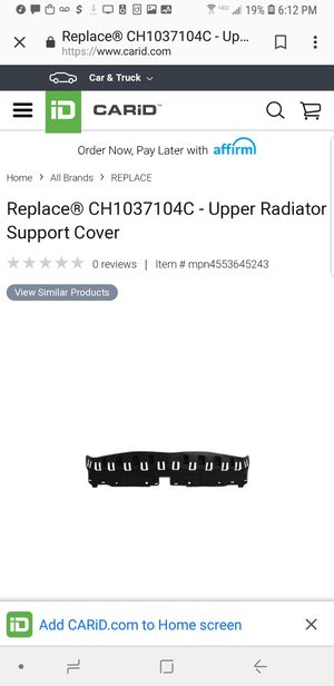 Dodge Charger 11-14 CH1037104C - Upper Radiator Support Cover for Sale in Atlanta, GA