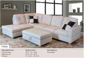 white sectional with ottoman & 2 pillows has storage ( new) for Sale in Hayward, CA