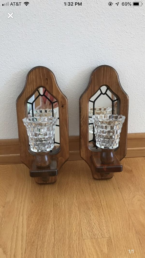 2 Wooden candle sconces