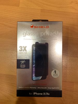 Zagg Invisible Shield Glass + Privacy Screen Protector for iPhone X/XS for Sale in Bellevue, WA