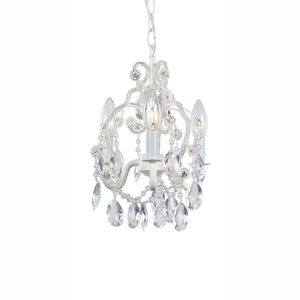 3-Light White Mini Chandelier with Crystal Drops and Crystal Bead Strands for Sale in Winter Haven, FL