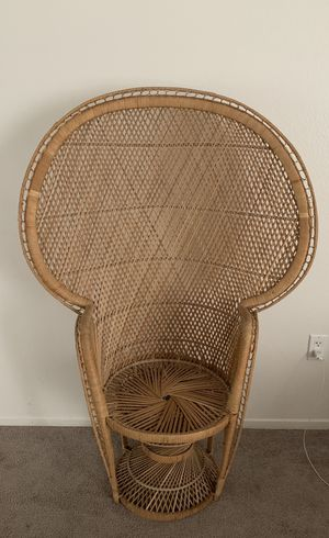Wicker rattan cane peacock vintage boho mid century chair for Sale in Placentia, CA