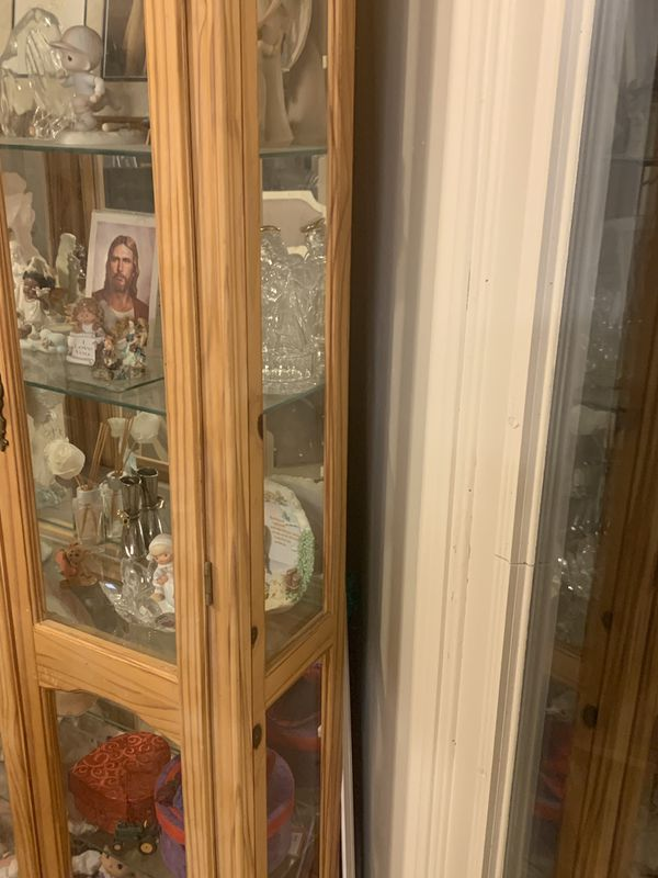 4 shelf glass and oak china display cabinet