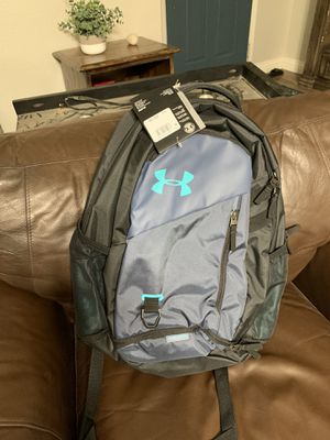 Under Armour UA Hustle 4.0 Backpack Gray Navy Teal Black Laptop School for Sale in Rancho Cucamonga, CA