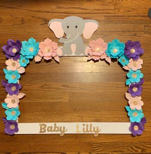 Photo backdrop frame for baby shower it's a girl birthday decoration gender reveal gold rose pink blue baby elephant for Sale in Downey, CA