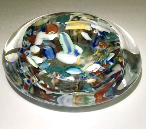 Rare Murano Millefiori Large Paperweight Italian Art Glass Shell