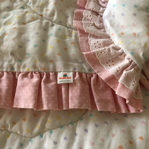 Health-Tex Made In The USA VINTAGE Baby Quilt/Crib Quilt Colored Hearts, Heart Stitching, Ruffles and Eyelet Ruffles In AMAZING Condition. for Sale in Phoenix, AZ