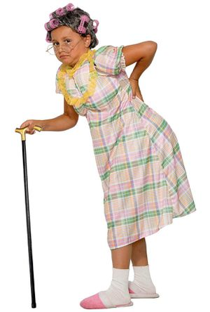 New, Kid's Granny Costume! ...Includes Dress, Stuffed pillow for backside, Wig and Curlers! 👵 for Sale in Moreno Valley, CA