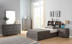 Twin Size 3-Drawer Storage Bed Frame with Bookcase Headboard, Distressed Grey for Sale in Fountain Valley, CA