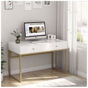 Tribesigns Computer Desk, Modern Simple 47 inch Home Office Desk Study Table Writing Desk with 2 Storage Drawers, Makeup Vanity Console Table, White a for Sale in Whittier, CA