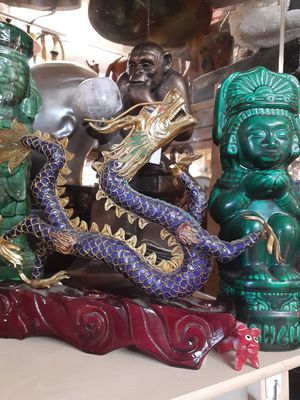 Really nice cloisonne dragon on a wooden base for Sale in Dunedin, FL